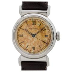 Movado Stainless Steel Hooded Lugs Wristwatch circa 1940s