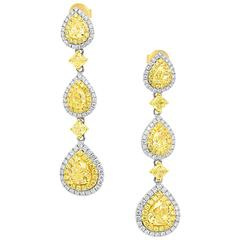 Certified Fancy Yellow and White Diamond Two-Color Gold Double Halo Dangle Earri