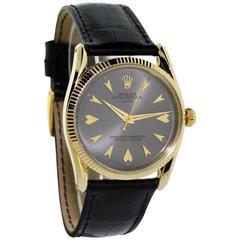 Rolex Yellow Gold Men's Bombe Style Wristwatch