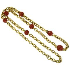 Italian Large Yellow Gold Long Chain Necklace with Large Red Coral