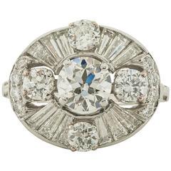1940s Retro Diamond and Platinum Ring
