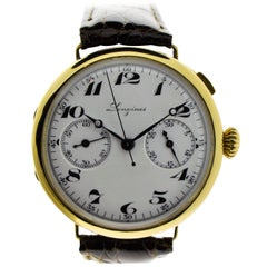 Longines Yellow Gold Enamel Dial Military Chronograph Manual Watch