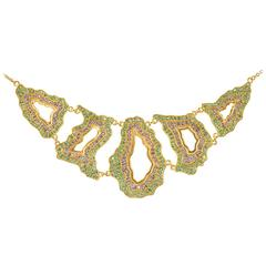 Lauren Harper Geode-Inspired Emerald, Tanzanite and Gold Statement Necklace