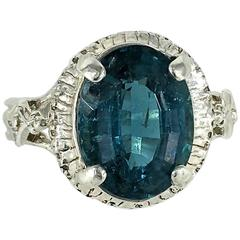 Blue Tourmaline and Sterling Silver Ring