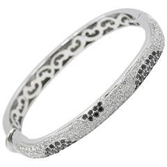 Black and White Diamond White Gold Square Bangle Bracelet