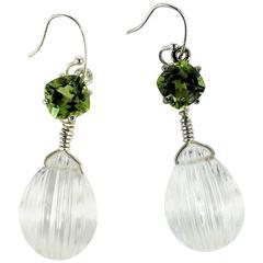 Peridot and Quartz Crystal Earrings