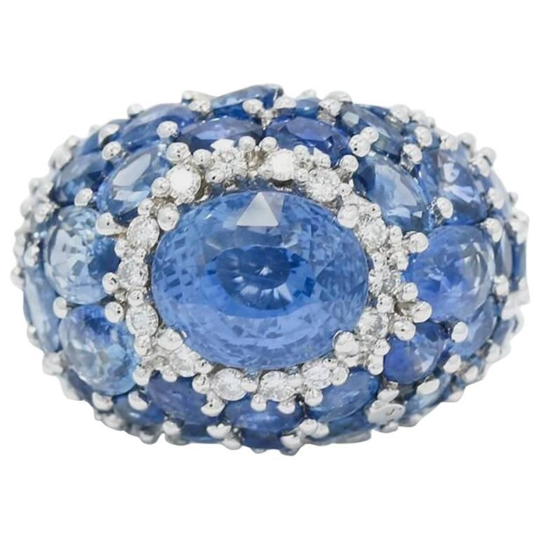 Oval Sapphire Diamond White Gold Dome Ring