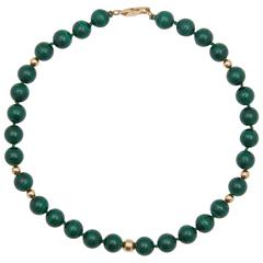 Malachite and Gold Beaded Necklace, 20th Century