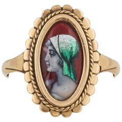 French Limoges Enamel Gold Ring, 19th Century