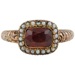Georgian Garnet and Pearl Ring, circa 1820
