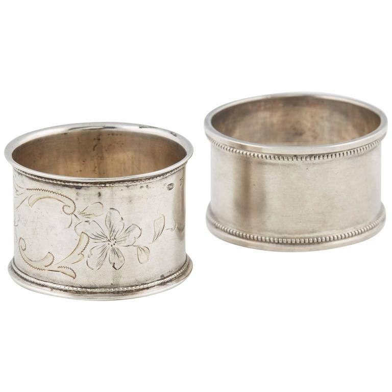 Two Russian Silver His and Hers Napkin Rings, circa 1908 For Sale
