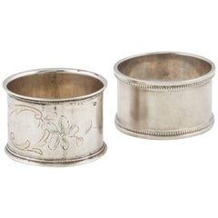 Two Russian Silver His and Hers Napkin Rings, circa 1908