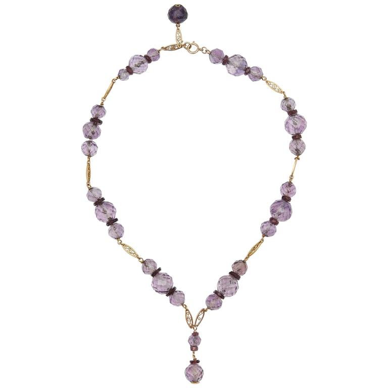 Edwardian Amethyst and Gold Necklace, circa 1920