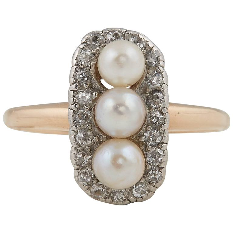 Three Pearl Diamond Gold Ring, 19th Century