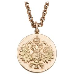 Russian Gold Romanov Eagle Pendant with Original Schaffer Collection Document