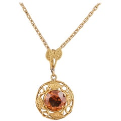 Arts & Crafts Citrine and Gold Pendant, circa 1910