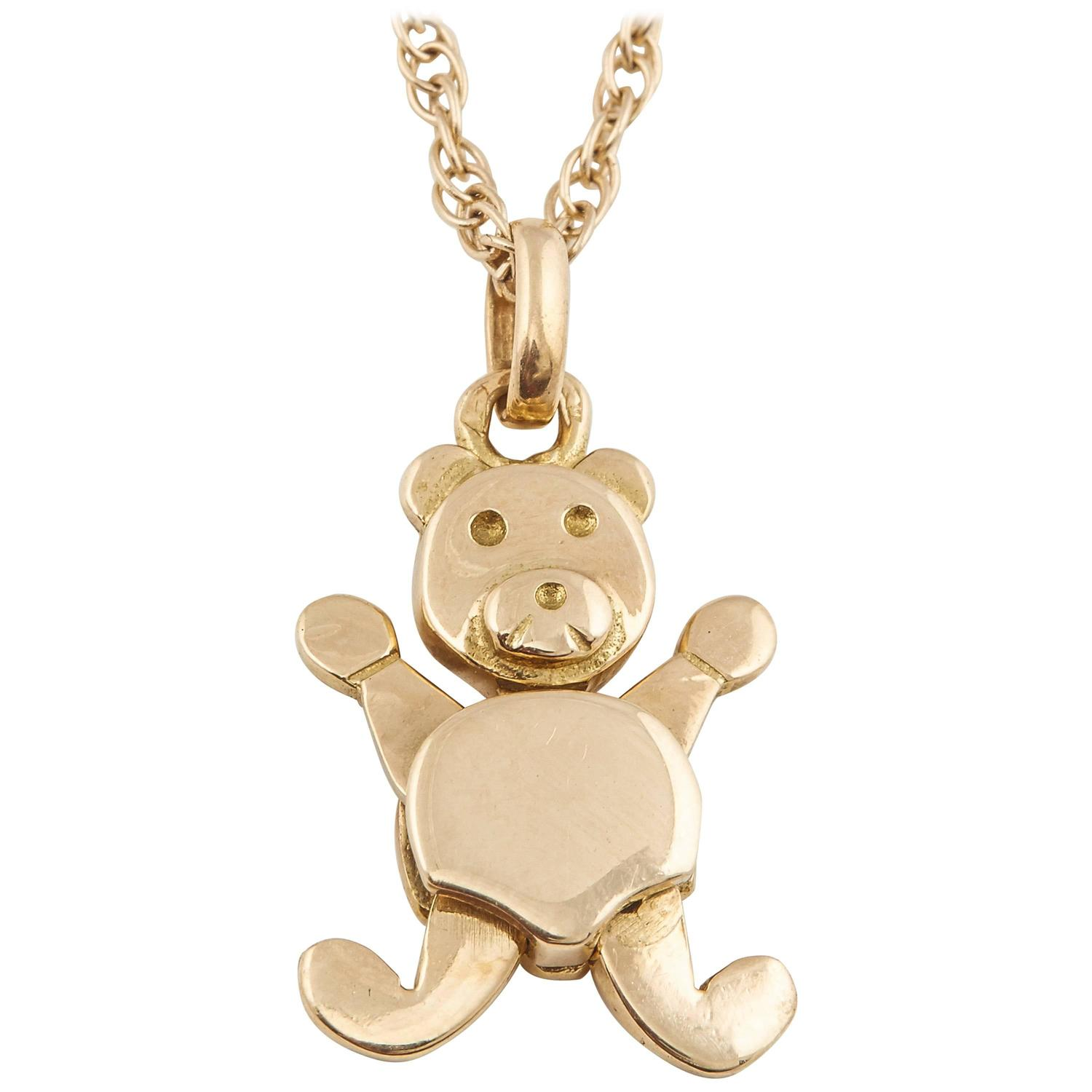 products type teddy bear vendor oliver necklace necklaces cf chopard floating pendant jewellery diamond