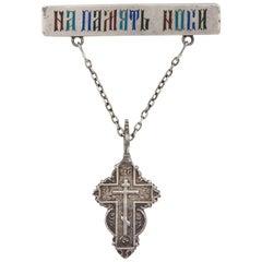 Russian Silver Enamel Pin Suspending an Old Believers Cross, 19th century