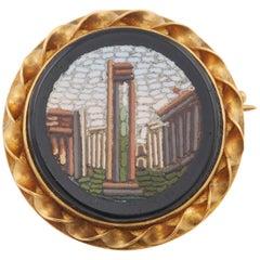 Russian Gold Micro-Mosaic Pin by Blumenthaller, circa 1880