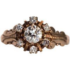 1880s Victorian GIA Certified .44 Carat Diamond Yellow Gold Engagement Ring