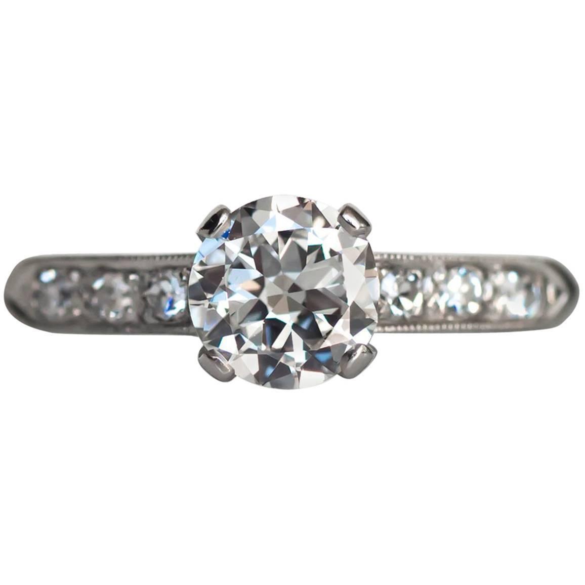 1940s Late Art Deco .65 Carat Diamond White Gold Engagement Ring