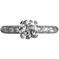 1940s Late Art Deco .65 Carat Diamond White Gold Engagement Ring