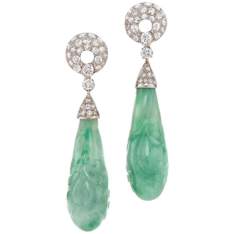 Carved Jade and Diamond Pendant Earrings