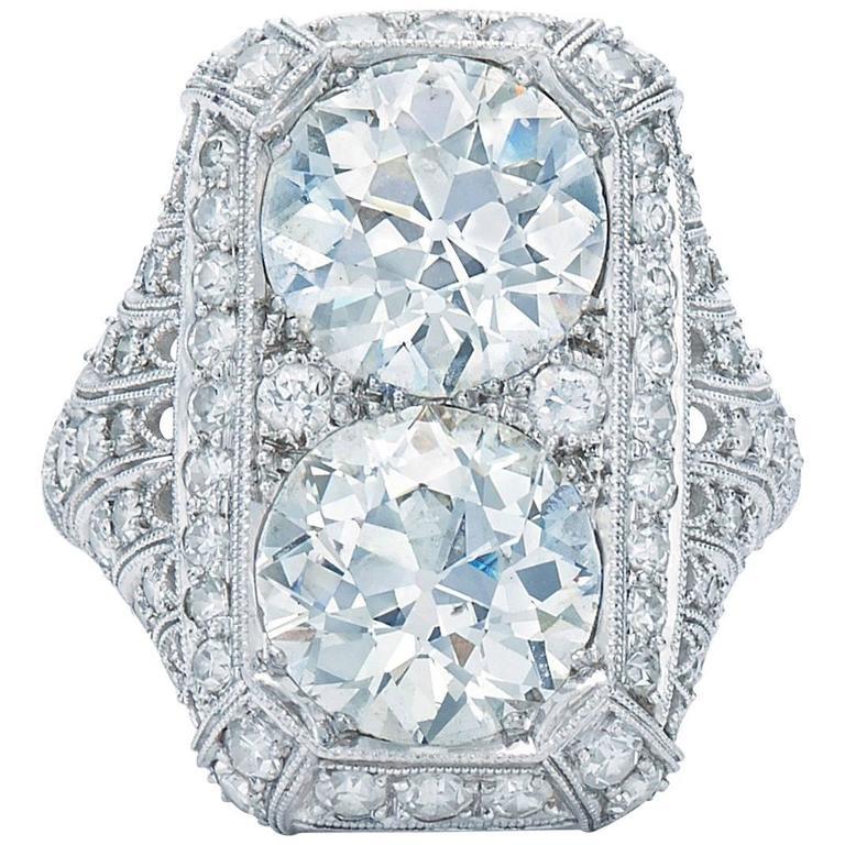 Edwardian Peacock Old European Cut Diamond Twin Stone Ring 1