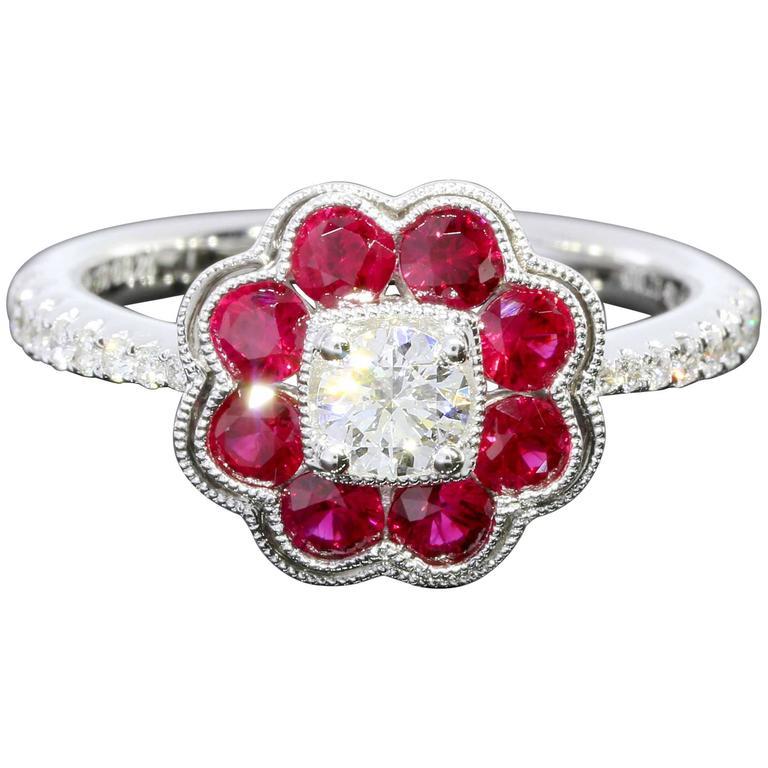 Diamond Ruby White Gold Flower Halo Ring