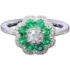 Emerald Diamond White Gold Flower Halo Ring