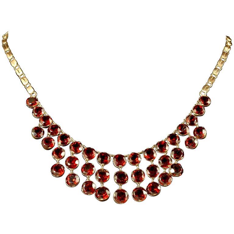 Antique Garnet Necklace 9 Carat Rose Gold, circa 1900