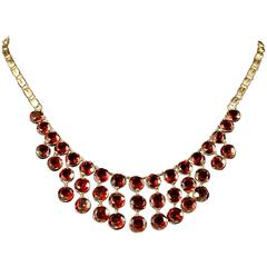 Antique Garnet Necklace 9 Carat Rose Gold, circa 1900
