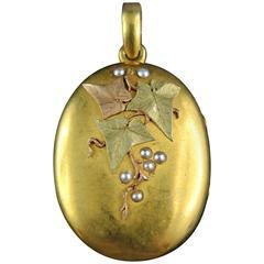Antique French Gold Locket with Vine Leaf Design
