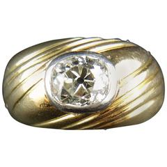 Gold and Platinum Ring with Cushion Old Cut Diamonds, circa 1950
