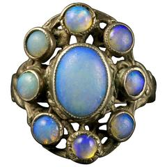 Arts Crafts Silver Opal Ring, circa 1900