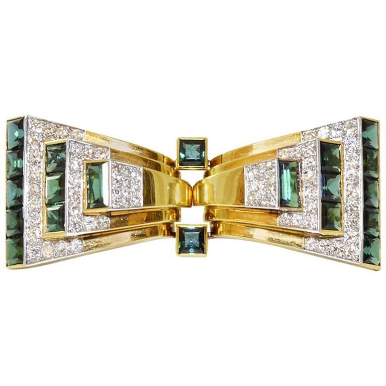 Art Deco Cartier Tourmaline Diamond Gold Bow Brooch Double Clips