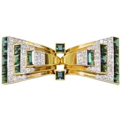 Art Deco Cartier Tourmaline Diamond Gold Bow Brooch Double Clips