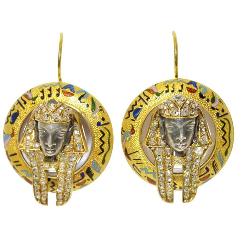Victorian Egyptian Revival Pharaoh Enamel Diamond Gold Drop Earrings 1