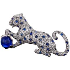Cartier Paris Mid-20th Century Diamond, Sapphire and Platinum 'Panthère' Brooch