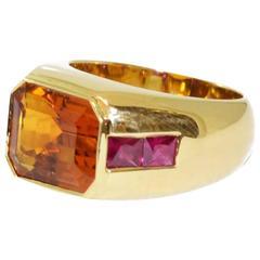 Emerald Cut Citrine Ruby Gold Dress Ring