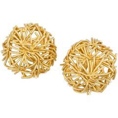 Pair of Gold Bird's Nest Earrings by Boucheron