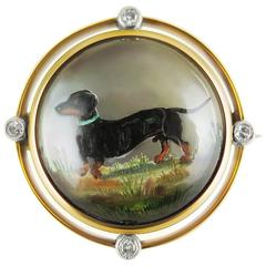 Antique Dachshund Mother-of-Pearl Reverse Crystal Diamond Gold Intaglio Brooch