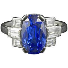 Art Deco Platinum Sapphire Diamond Ring Engagement Ring