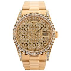 Rolex Day-Date Original Diamonds and Onyx Dial 18 Karat Gold Unisex 18388, 1991
