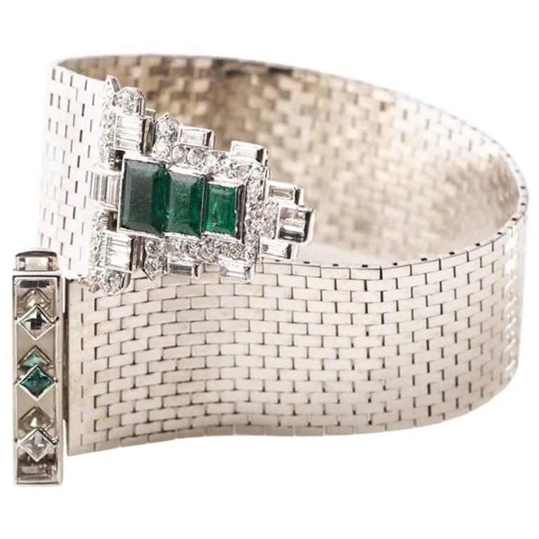 Mauboussin White Gold Bracelet with Detachable Emerald-Diamond Clip