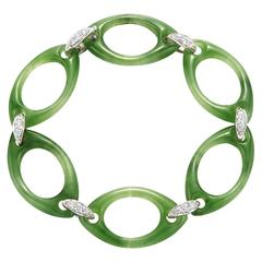Fred Leighton Green Nephrite and Diamond Oval Link Bracelet
