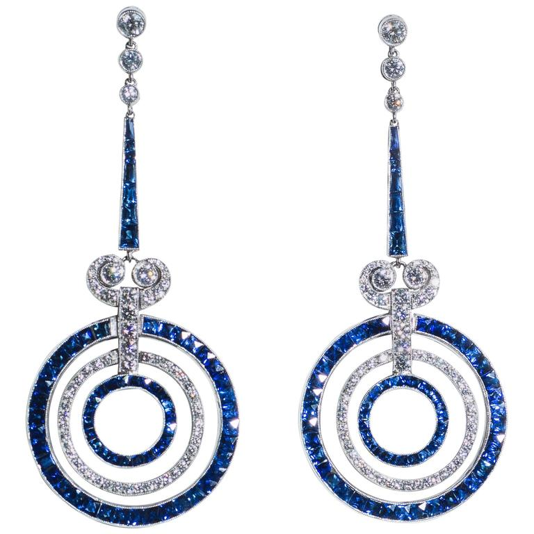 Sapphire Diamond Platinum Earrings For Sale