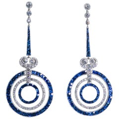 Art Deco Style Sapphire Diamond Platinum Earrings
