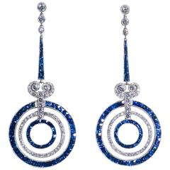 Sapphire Diamond Platinum Earrings, Art Deco Style