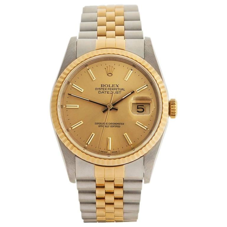 Rolex Datejust Stainless Steel/18 Karat Yellow Gold Unisex 16233 1